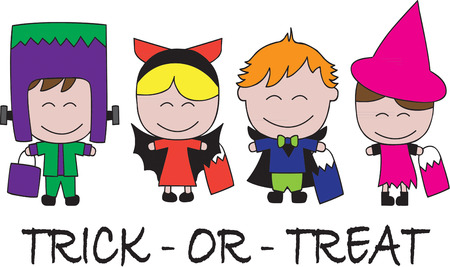 tratar: Beware these little spooky kids out for trick or treat  They are ready to help you create the perfect Halloween gear for your little spook.