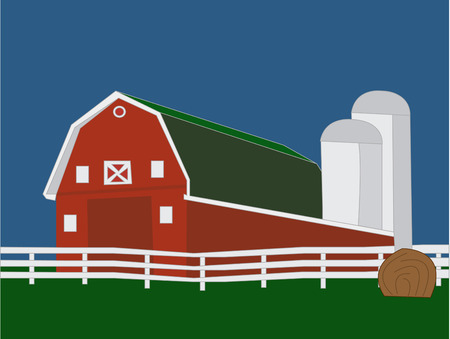 hay bale: Farm livin is the life and best with a big red barn  This rural scene is a perfect design for everything from quilts to 4H projects. Illustration