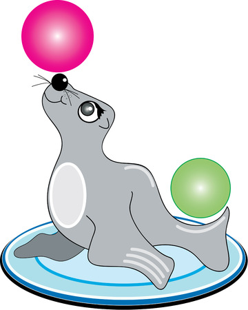 trained: The circus is in town featuring this trained seal.  With a pink ball balanced on his nose he sure makes a great part of a circus themed dcor. Illustration