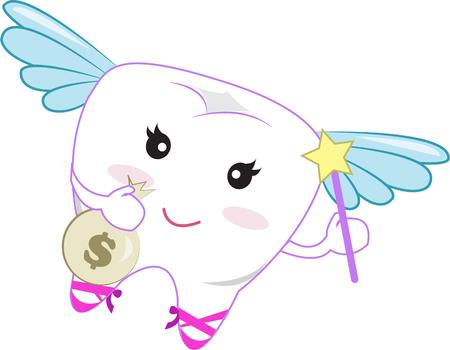 tooth fairy: The tooth fairy trades coins for baby teeth.  Put this sweet little design on a special tooth fairy pillow for your little angel.