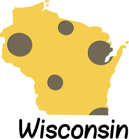 wisconsin: Celebrate Wisconsin cheese with this fun design. Illustration