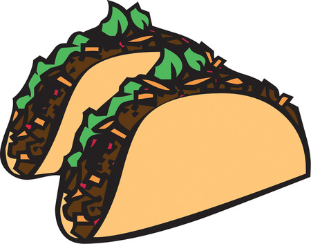 seasoned: Not just your average taco but a colorful and artistic take on this favorite food.  Great menu art Illustration