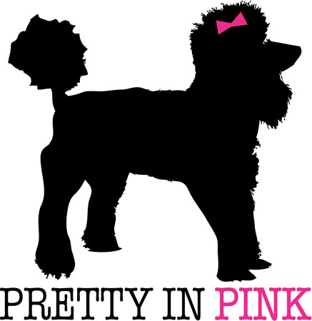 pure bred: A poodle in silhouette with a dainty pink bow and you have the perfect puppy pal.  A lovely shirt embellishment for any dog lover. Illustration