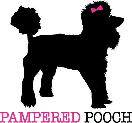 pampered pets: A poodle in silhouette with a dainty pink bow and you have the perfect puppy pal.  A lovely shirt embellishment for any dog lover. Illustration