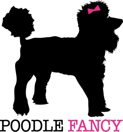 bred: Un caniche en silueta con un rosa delicado arco y usted tiene el perfecto compa�ero cachorro. Un adorno camisa preciosa para cualquier amante del perro. Vectores