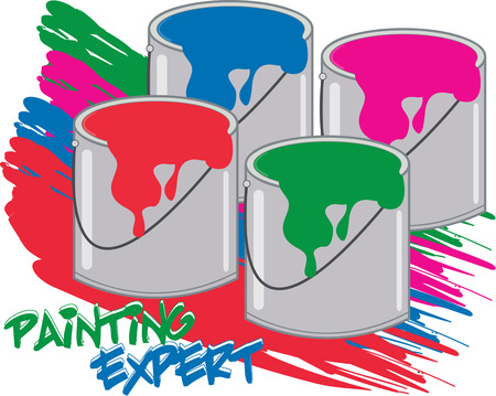 colors paint: Add some color and paint the town with these bright colors of paint.  These paint tins are simply the perfect decoration for artist capes. Illustration