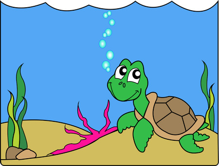 explores: A baby sea turtle explores his world in this cute underwater scene.  We love this water world on kids gear.