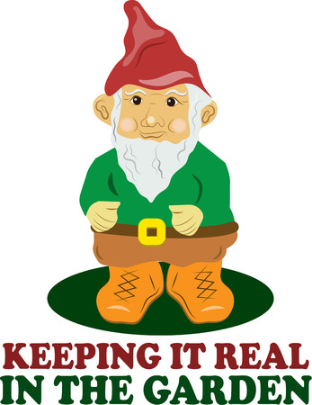 lawn gnome: Your garden is just not complete without a friendly gnome to stand guard.  Dont have a gnome  Add this guy to a garden flag to have a gnome in a snap. Illustration