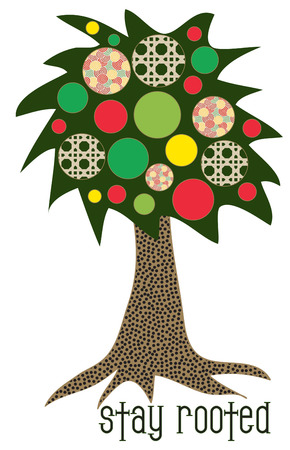 one of a kind: This amazing tree grows one of a kind fruit of patchwork.  Great add for your Americana theme projects.