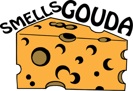 wedge: Classic Swiss cheese is sure to make any snack better.  We love this cheese wedge on kitchen gear. Illustration