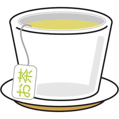 infuser: A cup of green tea is the perfect compliment to any Asian meal.  This elegant cup decorates a tea towel just perfectly.