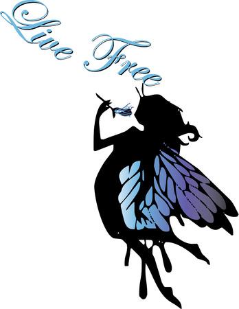 kleine meisjes: Oue gevleugelde fee silhouet brengt haar delicate charme, waar ze vliegt. Kleine meisjes zullen haar houden als versiering om ruimte decor.