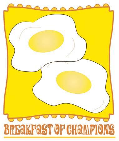 sunny side up eggs: The classic breakfast of champions is served  Two fried eggs served up on a yellow plate are a fun way to dress up a place mat or your table.