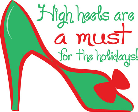 cant: You just cant have too many shoes  Add this green bow embellished pump to your collection.  Super fun on a shoe bag. Illustration