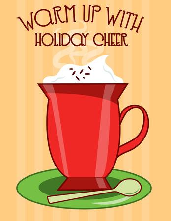 chocolat chaud: Lorsque le temps est froid peu de choses sont aussi bien accueillis comme une grande tasse de chocolat chocolat chaud frappe la tache et cette tasse ressemble beaucoup sur un petit bar en tissu serviette. Illustration