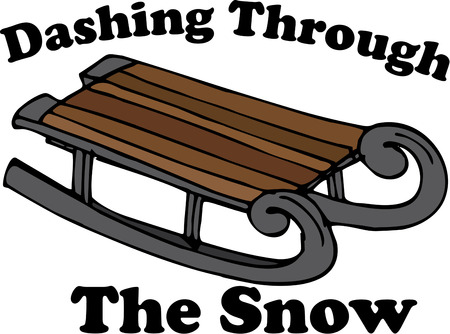 bobsled: The snow awaits  lets go sledding.  Add this old time sled to your winter gear to make it extra special Illustration