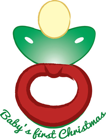 baby's dummies: Red and green come together to create this most festive pacifier.  Perfect for the Christmas baby Illustration
