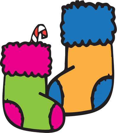 stuffer: Colorful stockings filled with goodies are a Christmas treat.  These unusually colored stockings are an artistic deviation from ordinary holiday decorations. Illustration
