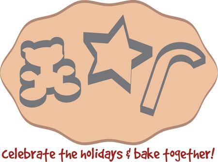 holiday cookies: Estamos despliegue de un lote de galletas de navidad bonitos. Teddy estrellas y del bast�n de caramelo galletas son tan dulce en su pieza central de Navidad. Vectores