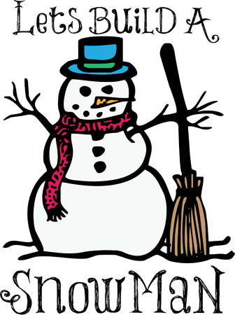 jack frost: We have built a fantastic snowman  He is the perfect addition to a denim shirt for holiday wear. Illustration