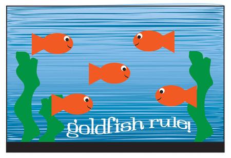 aquarium hobby: Happy fish swim in all directions in this pretty fish aquarium.  We think this design is perfect to decorate for an aquatic design company.