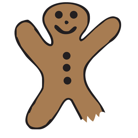 gingerbread: Our tasty gingerbread man has paid the price for being so yummy.  He keeps a smiling face in spite of a bite taken from his leg  He adds his unique charm to kitchen towel or oven mitt decoration.