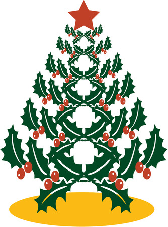 tannenbaum: Two classic decorations of Christmas come together in this pretty holly tree.  Absolutely stunning on table linens or holiday cards. Illustration