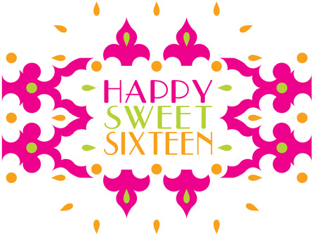 sweet sixteen: Celebrate the most special of occasions with a greeting framed in decorative pink designs.  Invitations signs or party shirts  this design can do it all.