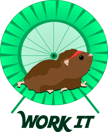 standout: Our cute hamster gets his workout running endlessly on the wheel.  Our workout hamster is such a fun way to make your exercise gear standout. Illustration