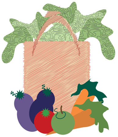 veggies: Fresh food is the best food  Heres a sack of fresh food and veggies to decorate a reusable bag to carry your groceries home. Illustration