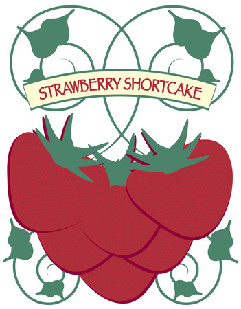 shortcake: A swirly vine of strawberries is a visual treat.  It makes yummy decoration for table linens or kitchen gear. Illustration