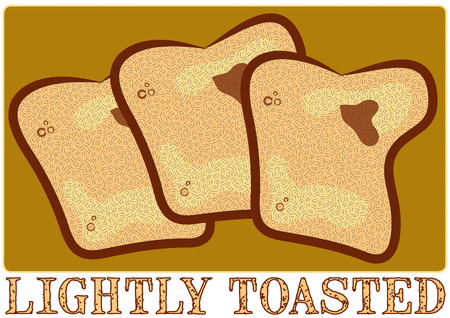 toasted: Bread with a touch of butter completes any meal.  Simple yet very memorable art for your kitchen. Illustration