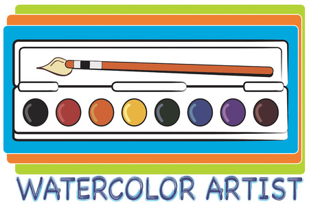 sable: A tray of watercolors and a sable brush allow the artist to recreate the world.  Create the perfect artist apron with this watercolor palette. Illustration