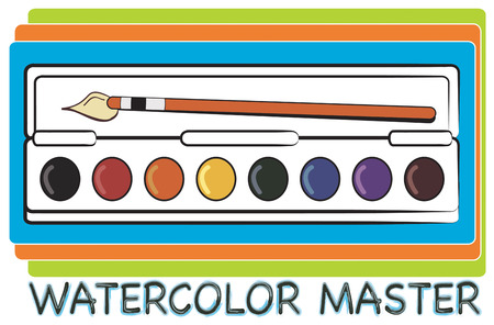 recreate: A tray of watercolors and a sable brush allow the artist to recreate the world.  Create the perfect artist apron with this watercolor palette. Illustration