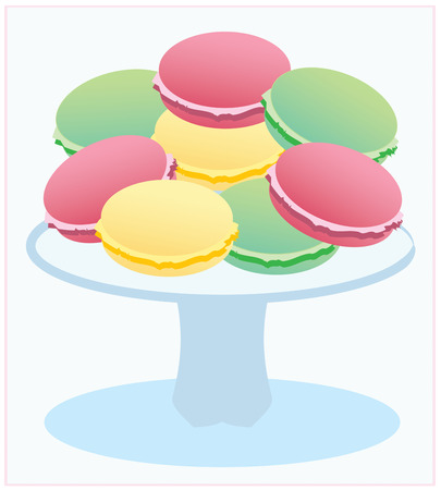 cake stand: French macaroons colored in delicate pastels are a rare treat  This pretty confection on a cake stand is a lovely decoration for kitchen or table linens.