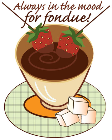 fondue: Yummy chocolate fondue  a party favorite  Add this lovely fondue presentation to party invitations or kitchen linens.  Sure to be a hit