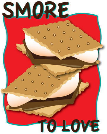 bring up: Crackers chocolate and marshmallow  bring them all together and youve got smores  Yummy  Great design to spruce up your camping gear.