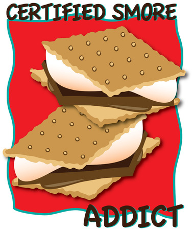bring up: Crackers chocolate and marshmallow  bring them all together and youve got smores  Yummy  Great design to spruce up your camping gear