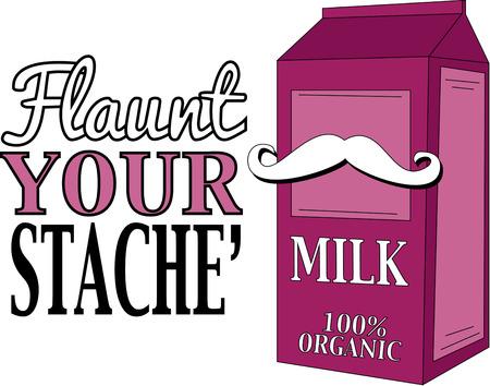milk mustache:   Mustache milk box cover illustration  Illustration