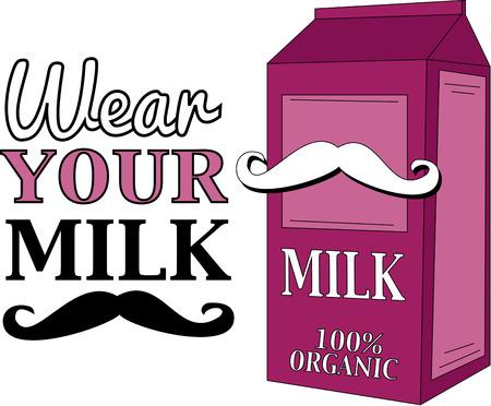 milk mustache: Mustache milk box cover illustration