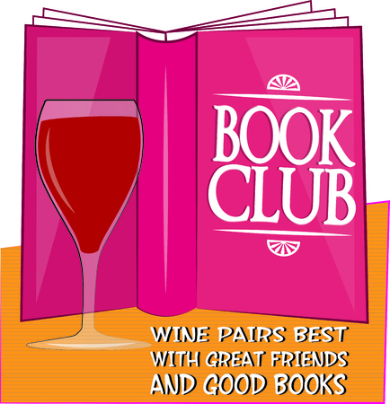 wine book: Book club and a glass of wine illustration  Illustration