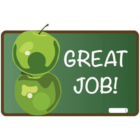 shinning:   Green apple and blackboard illustration  Illustration