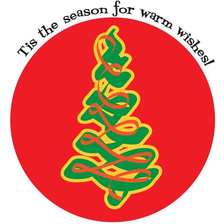 tannenbaum: Christmas Tree on the red ball illustration