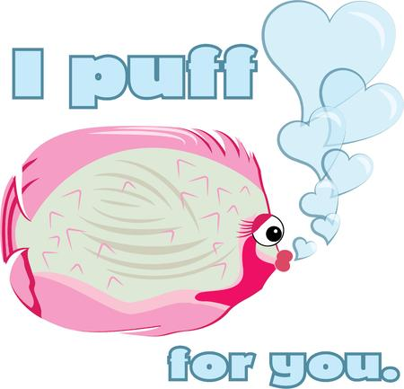 pufferfish: This super cute pufferfish adds his charming little heart bubble to your latest project.  Consider this little guy for baby onesies or bath towels. Illustration