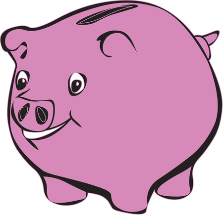 penny: Illustration of piggy bank isolated in white