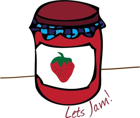 puree:  Illustration of Strawberry Jam Jar isolated in white
