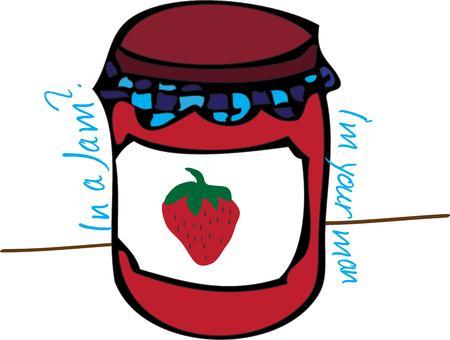 preserves:  Illustration of Strawberry Jam Jar isolated in white