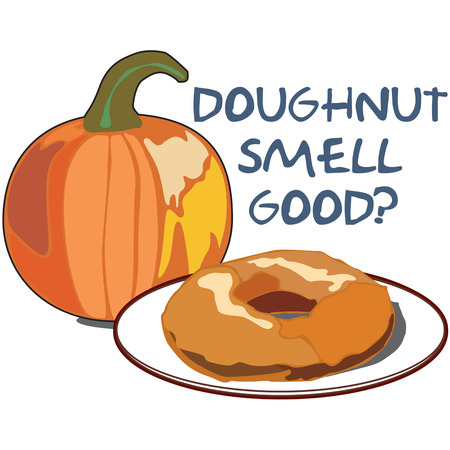 doughnut: A pumpkin and a doughnut  illustrations isolated in white