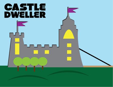 draw bridge:   Cute illustration of castle