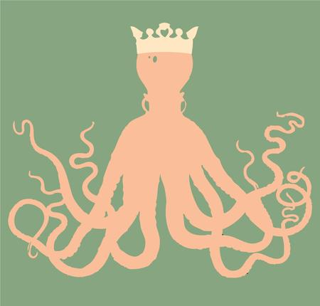devilfish:   Illustration of the cute octopus wearing a crown